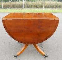 SOLD - Yew Oval Dropleaf Dining Table